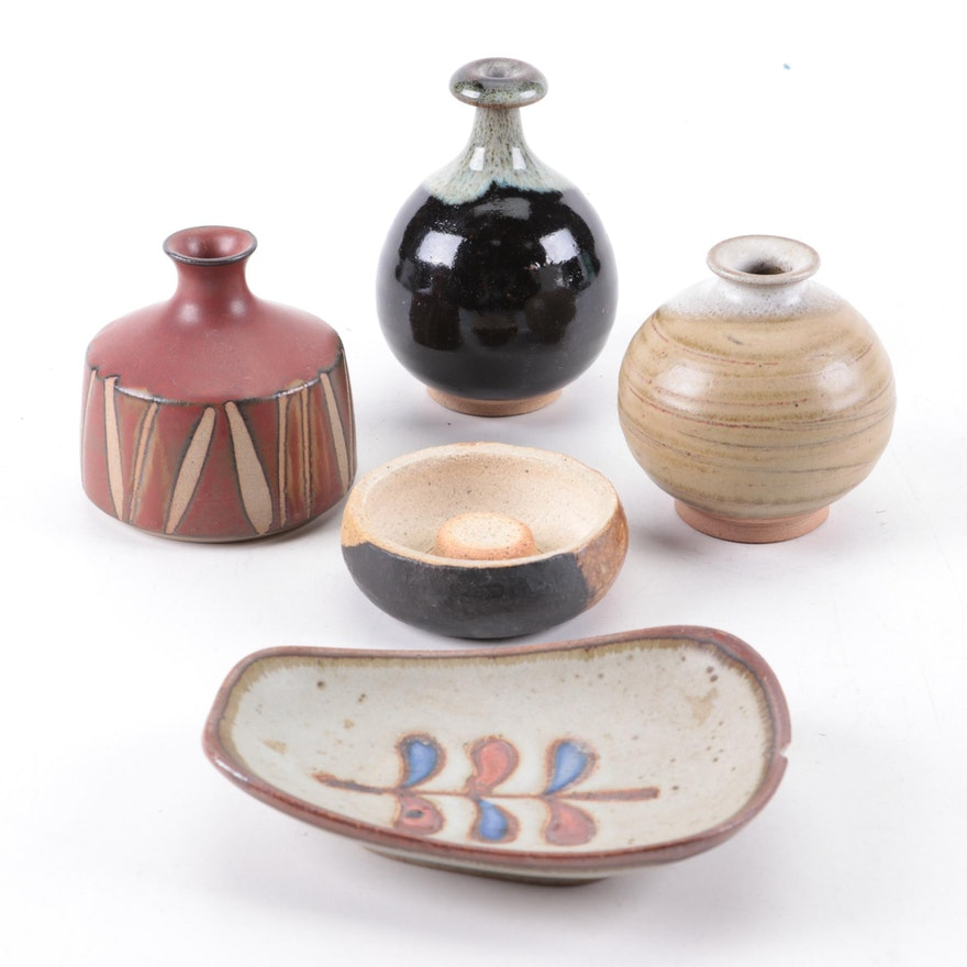 Miniature Earthenware Vases and Trinket Dishes