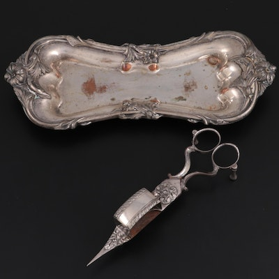 Victorian Silver Plate Candle Wick Trimmer with Foliate Rimmed Tray