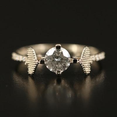 14K Diamond Ring with Spade Shoulder Details