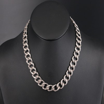 Italian Sterling Curb Link Necklace