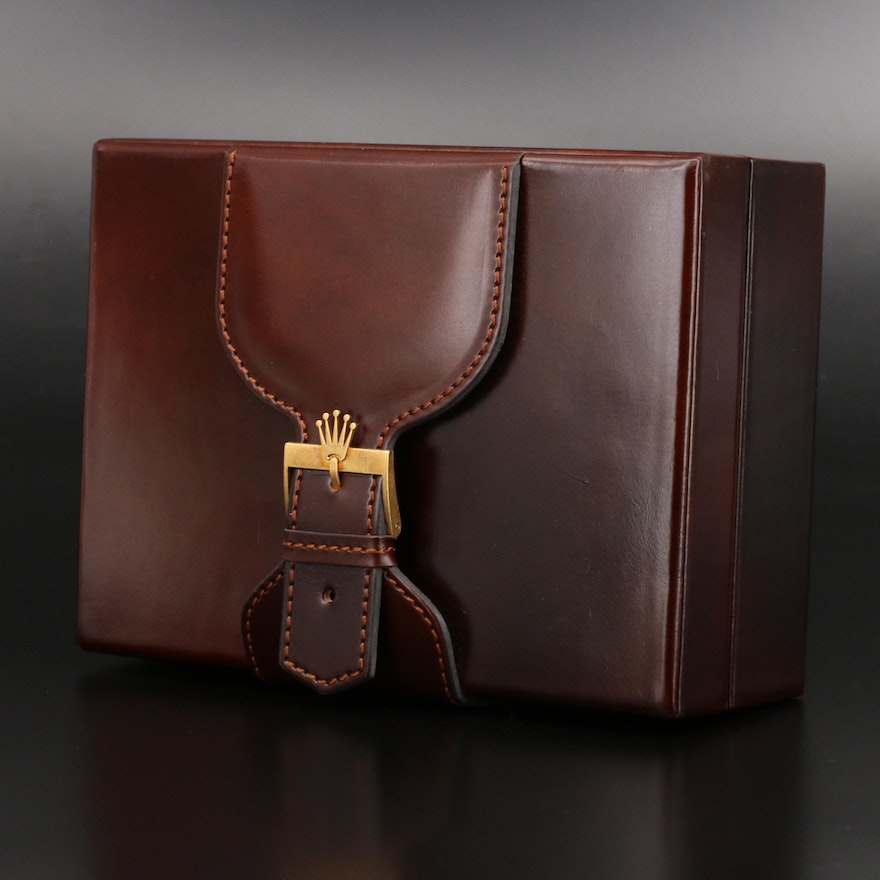 Vintage Rolex Day-Date Brown Leather Box 71.00.04