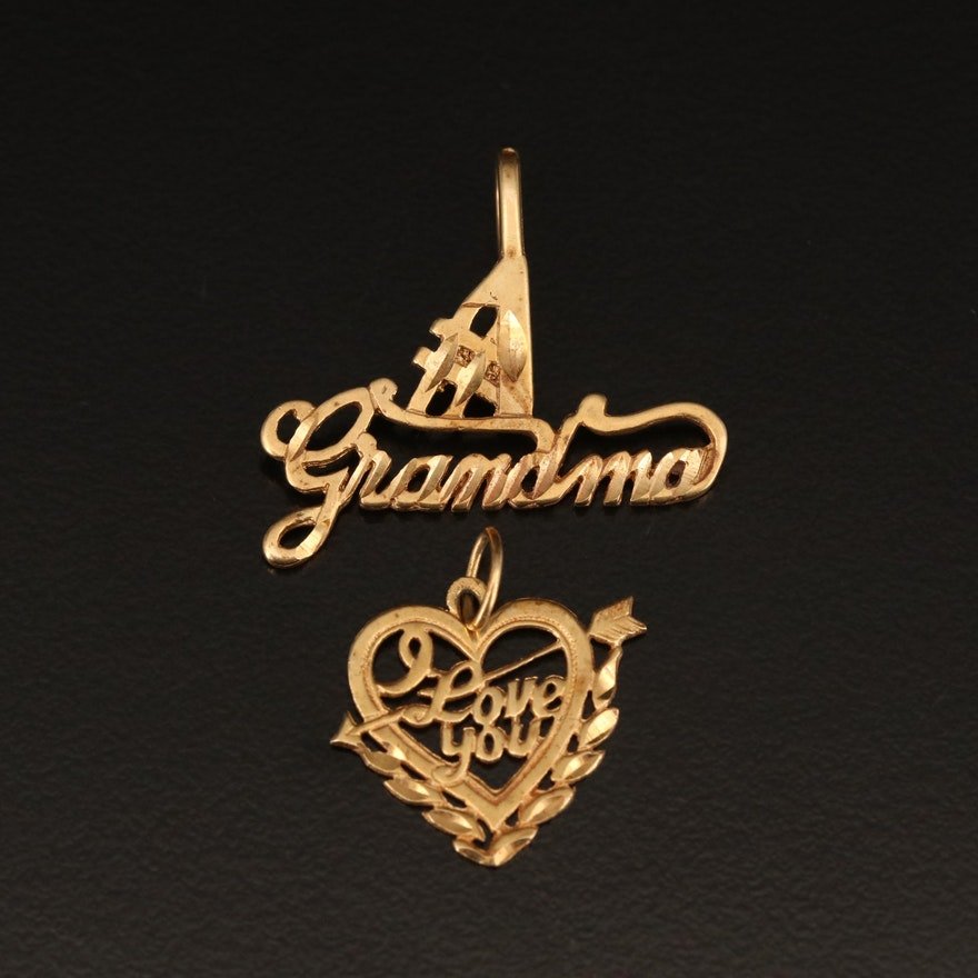 14K #1 Grandma and I Love You Heart Pendants