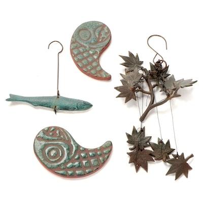 Foliate Metal Windchime, Glazed Ceramic Yin Yang Fish Tiles, and Metal Fish