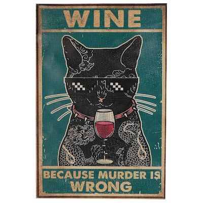 """Graphic Art Giclée of a Black Cat """"Wine: Because Murder is Wrong"""""""