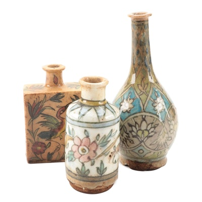 Persian Qajar Pottery Bottles and Vase, 19th Century