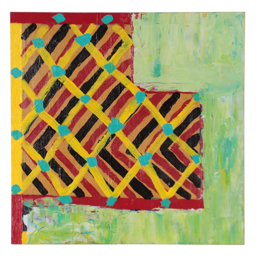 """Lawton Orchard Abstract Acrylic Painting """"Funky Geometry"""""""