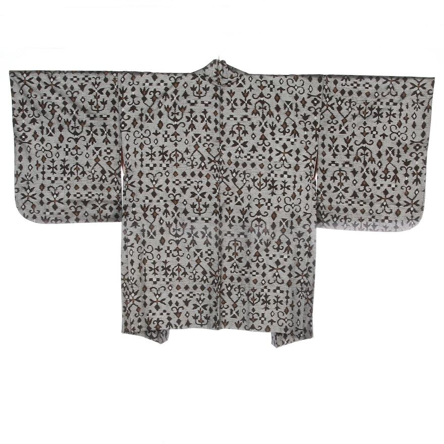 Metallic Woven Floral Ikat Haori, Shōwa Period