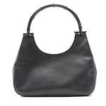 Gucci Bamboo Handle Handbag in Black Leather