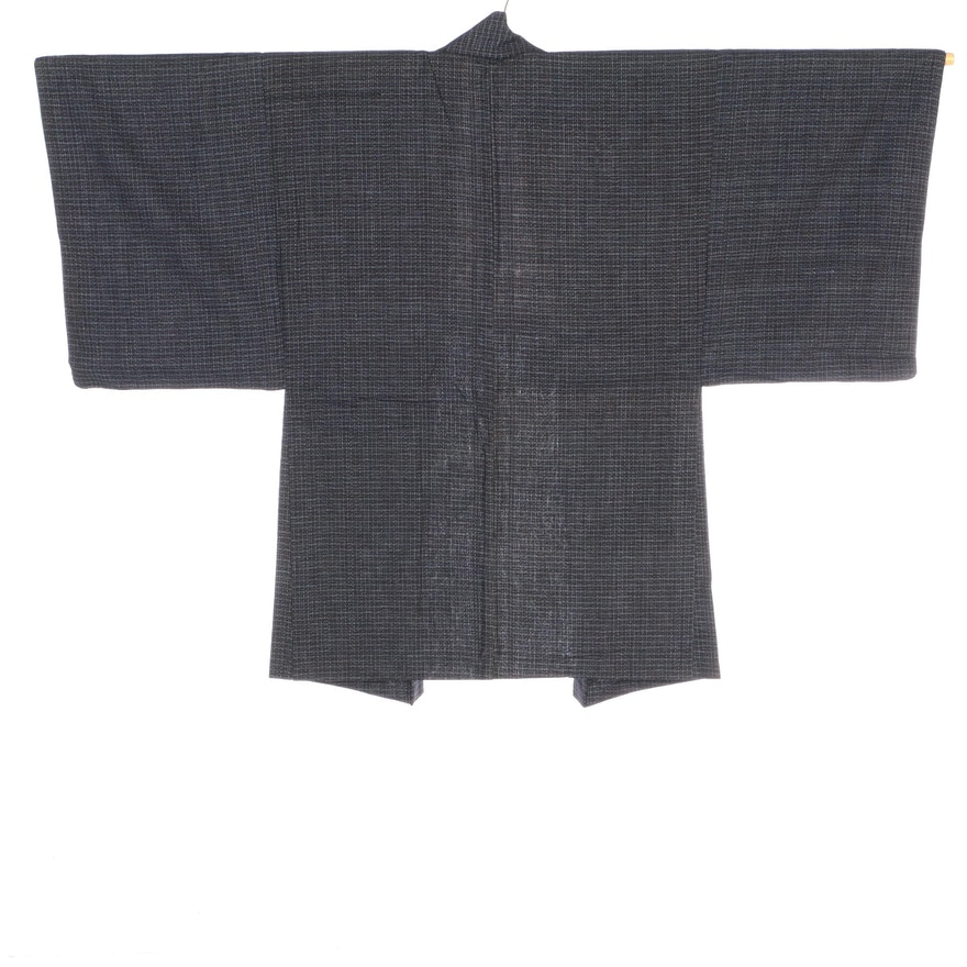 Men's Plaid Woven Cotton Haori with Brown Tassel Himo, Shōwa period