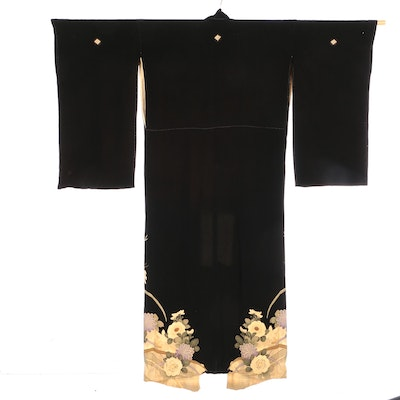 Five-Mon Tomesode Kimono with French Marigolds and Embroidery Embellishments