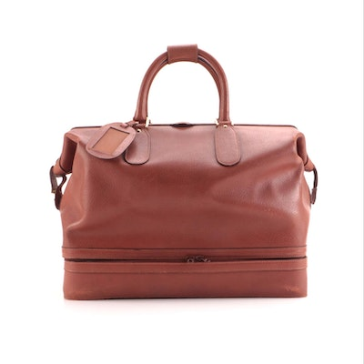 Gucci Tan Leather Boston Style Travel Bag with Zippered Base Compartment