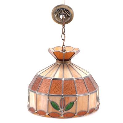 Pebble Glas and Slag Glass Ceiling Pendant