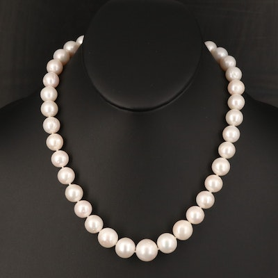 Graduated 10.25 MM - 13.50 MM Semi-Baroque Pearl Necklace with 14K Clasp