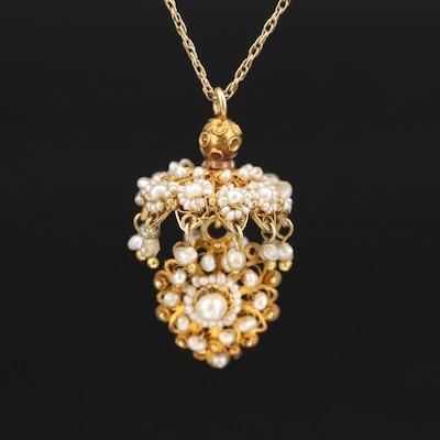 14K Seed Pearl Jhumka Pendant Necklace