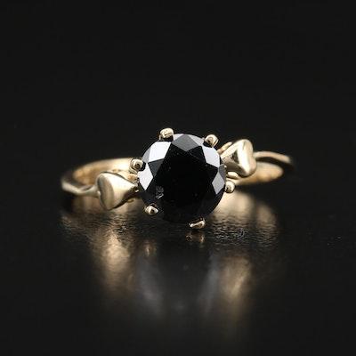 14K Cubic Zirconia Ring with Heart Shoulders