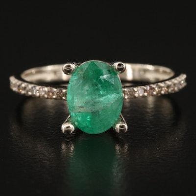 14K 1.50 CT Emerald and Diamond Ring