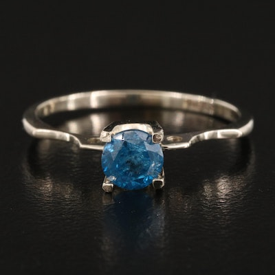 14K 0.66 CT Blue Diamond Solitaire Ring