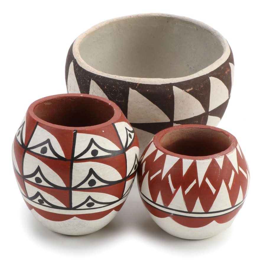 Caroline Loretto Jemez Pueblo Polychrome Jars and Acoma Pueblo Bowl