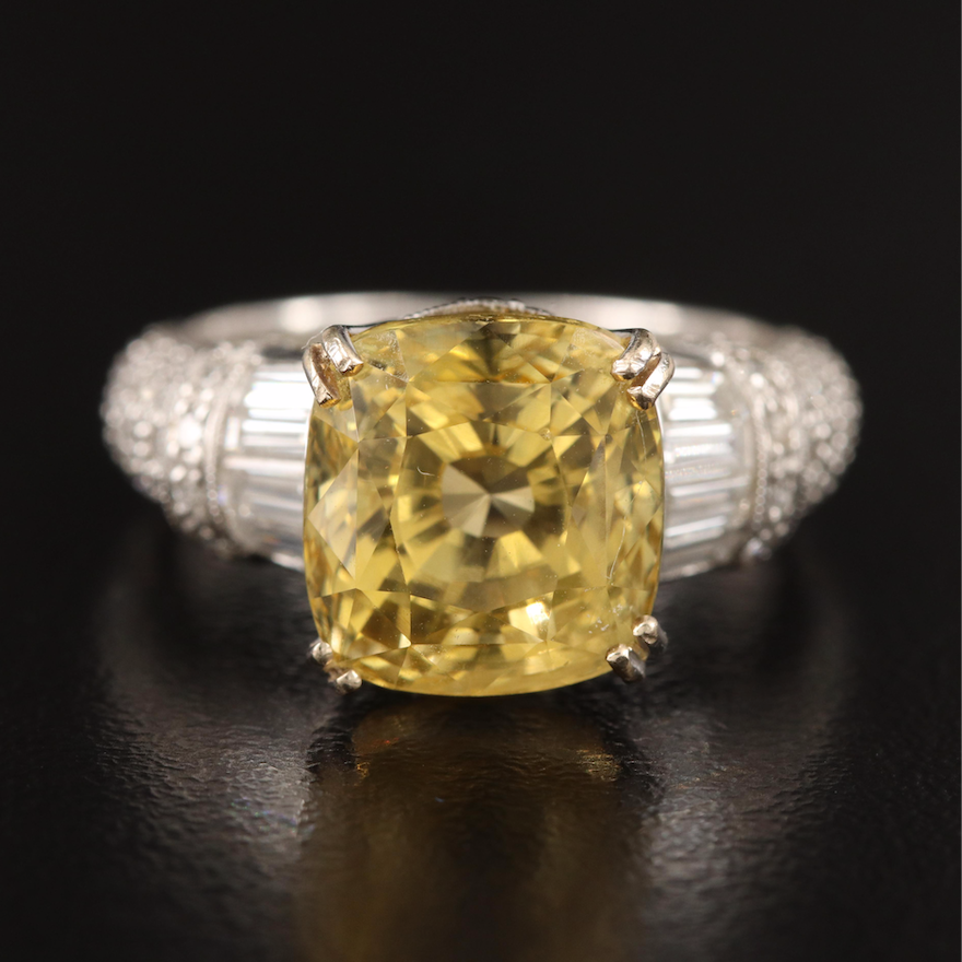 18K 8.62 CT Unheated Yellow Sapphire and Diamond Ring with GIA Report