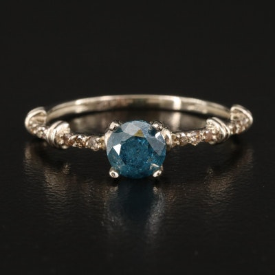 14K Blue and Brown Diamond Ring