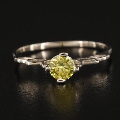 14K 0.39 CT Yellow Diamond Solitaire Openwork Ring