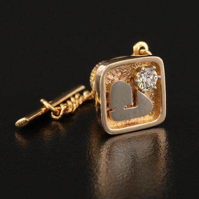 14K Diamond Service Pin