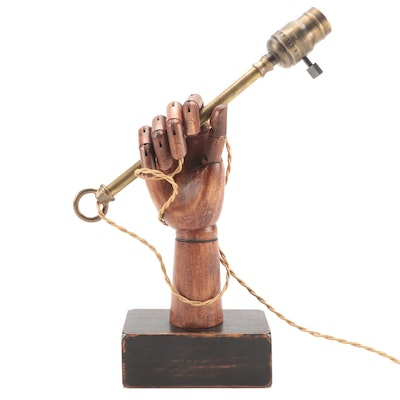 Carved Wood Articulated Hand Sculptural Lamp