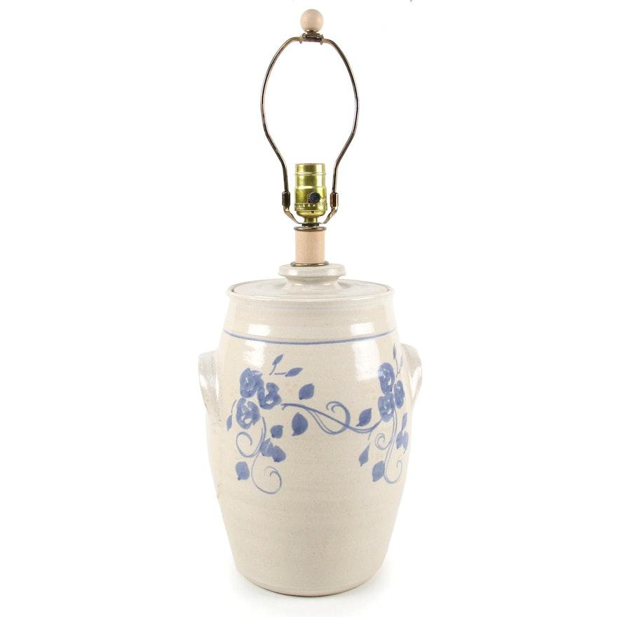Floral Motif Stoneware Crock Table Lamp