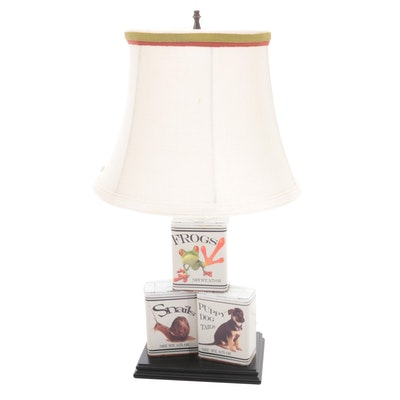 """""""Frogs, Snails, and Puppy Dog Tails"""" Custom Spice Tin Table Lamp"""