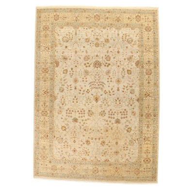 """9'10 x 14' Hand-Knotted Indo-Persian """"Ivory Sarouk"""" Room Sized Rug, 2000s"""