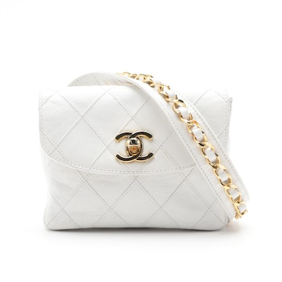 Chanel Belt Bag in Quilted White Leather