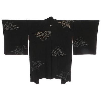 Scrolling Foliate Urushi Black Silk Haori, Shōwa Period
