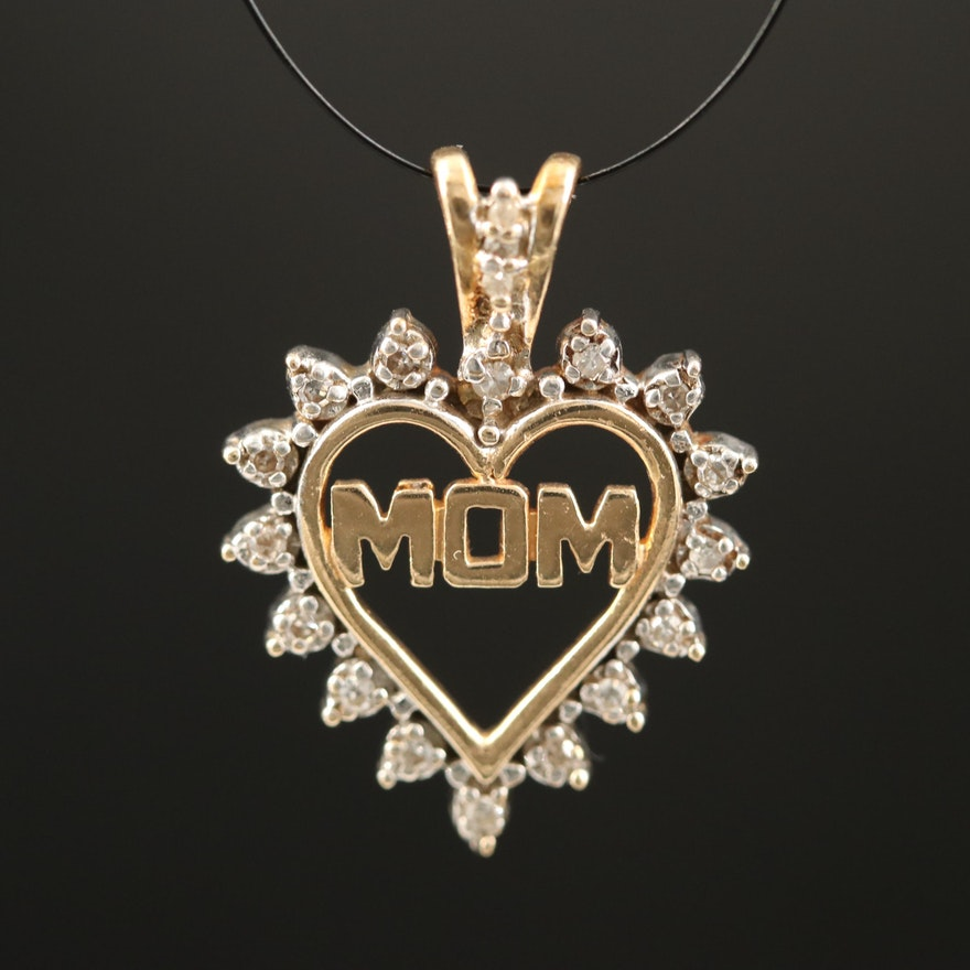 "10K Diamond ""Mom"" Heart Pendant"