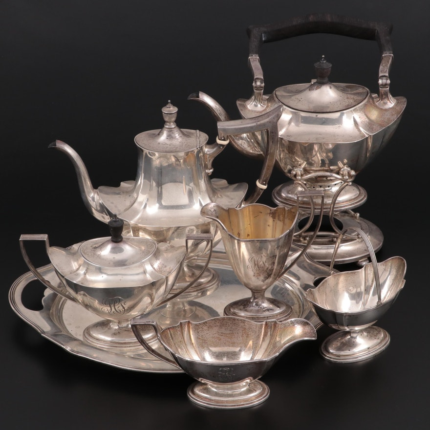 """Gorham """"Plymouth"""" Sterling Silver Tea and Coffee Service, 20th Century"""