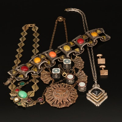 Art Deco and Vintage Jewelry Including Peruvian Moche Bird Necklace