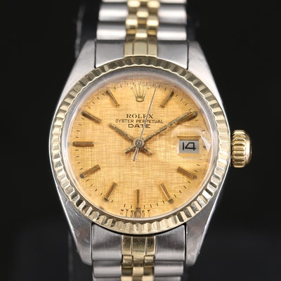 1978 Rolex Date Linen Dial 14K Gold and Stainless Steel Wristwatch