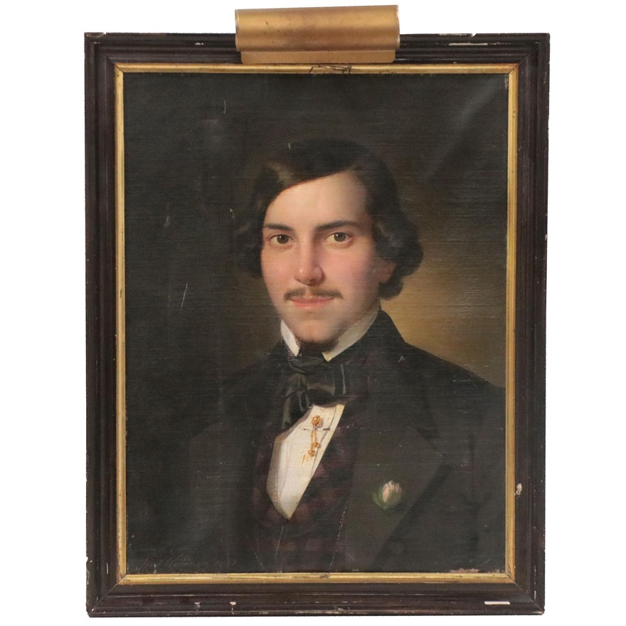 Josef Weidner Portrait Oil Painting of Formally Dressed Man, circa 1850