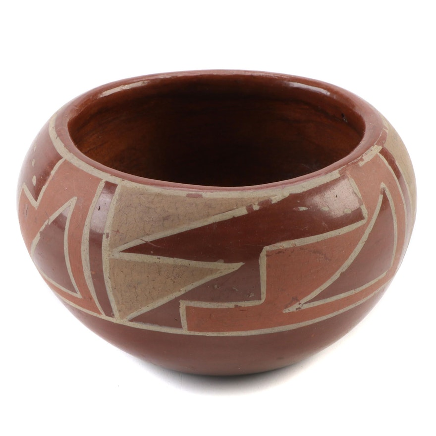 Santa Clara Pueblo Polychrome Earthenware Bowl, 1930s-1940s