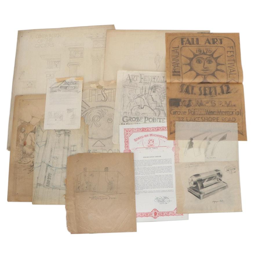Edgar Yaeger Drawings and Ephemera, Mid-20th Century