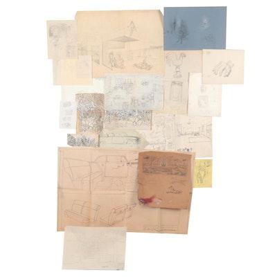 Edgar Yaeger Drawings, Sketches, and Studies
