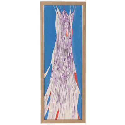 Albert Radoczy Abstract Figural Acrylic Painting, 1975