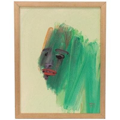 Albert Radoczy Abstract Face Gouache Painting, 1969