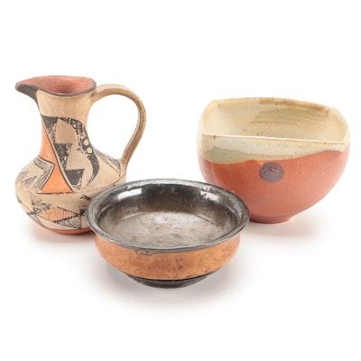 Southwestern Style Polychrome Pottery Pitcher and Other Bowls