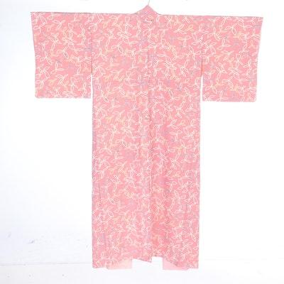 Sasanoha Patterned Mauve Crepe Kimono