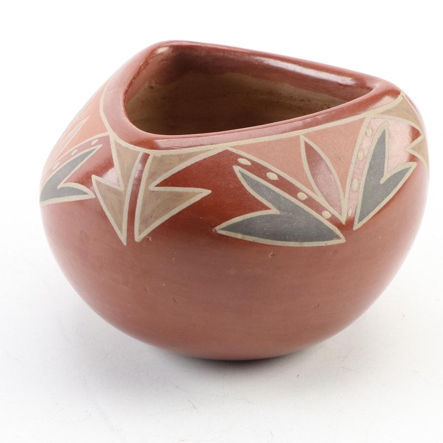 San Juan Pueblo Polychrome Earthenware Trilateral Jar, Mid-20th Century