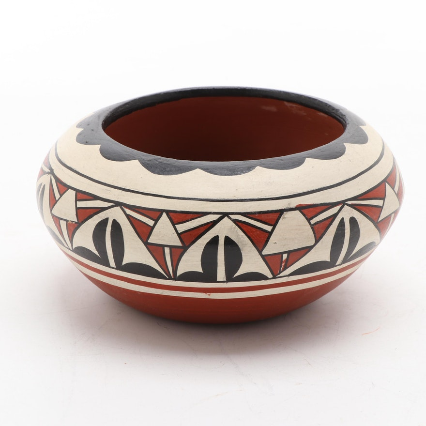 Pueblo Polychrome Earthenware Jar, Probably Jemez, Mid-20th C.