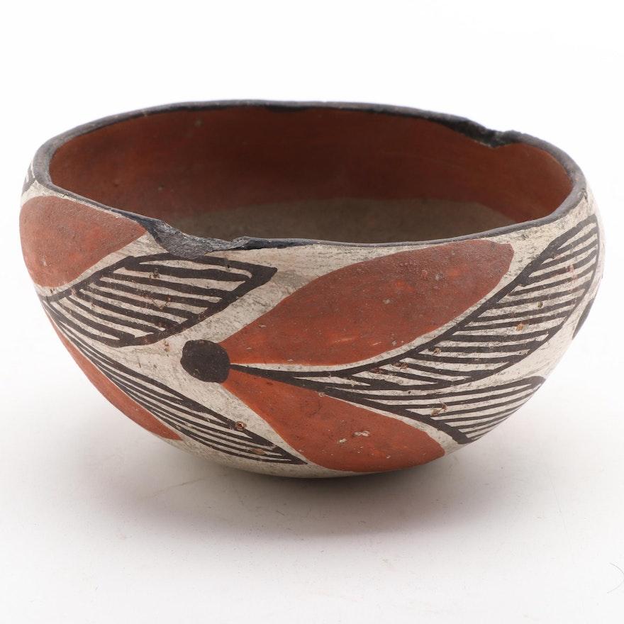 Isleta Pueblo Polychrome Earthenware Bowl, 1920s