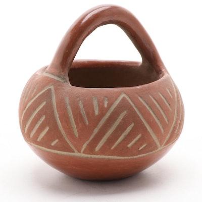 San Ildefonso Pueblo Carved Redware Basket, 1930s