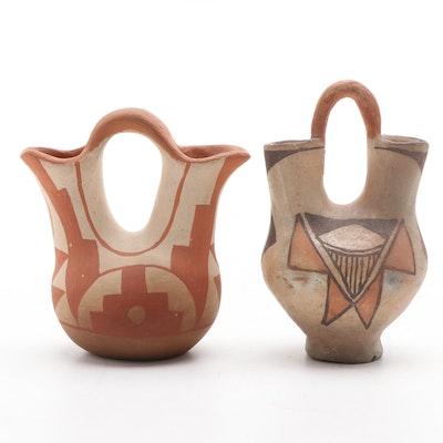 Laguna and Pueblo Polychrome Earthenware Wedding Vases