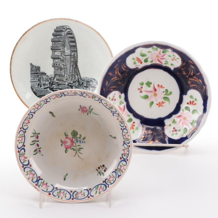 English Ceramic Pearlware and Other Blackpool Winter Garden Souvenir Saucers